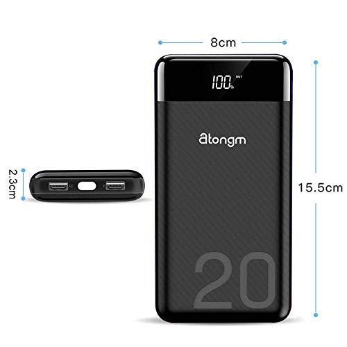 atongm 20000mAh Portable Double USB Port Li-Polymer External Battery Power Bank with Digital Display for Mobile Phones (Black) Image 3
