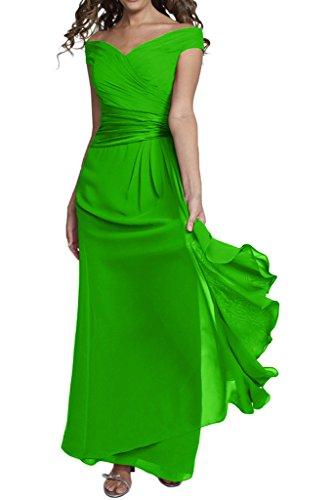 Gorgeous Bride Billig Elgenat V-Ausschnitte Etui Lang Chiffon Satin Abendkleider Festkleid Ballkleid Grün