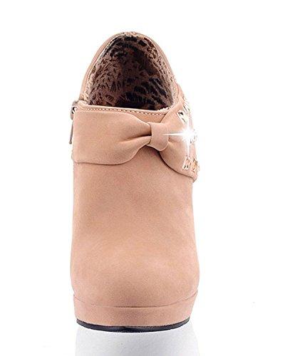 Minetom Bow Tie Scarpe Donna Tacco Alto con arco Punta Chiusa Matrimonio Scarpe Partito Cachi