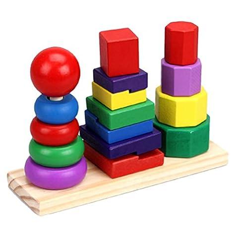 Zhuhaitf Jouets pour enfants Funny Wooden Childrens Kids Shape Geometric Sorting Board Puzzle Education Toys