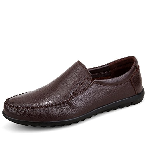 Minitoo Boys Mens Slip-On Soft Moccasin Boat Shoes Loafers Brown