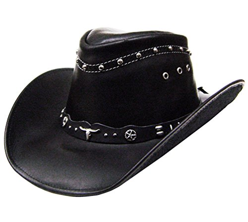 modestone-unisex-leather-cowboy-hat-metal-studs-black