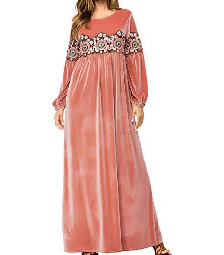 Frauen Kleider Winter Lange Ärmel - Stickerei Rock Islamisch Prinzessin Weiblich Robe Warm Muslim Kleidung ()