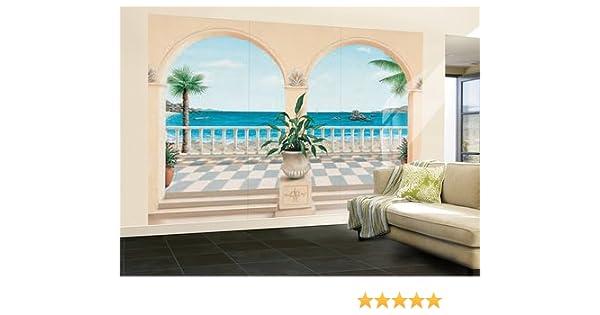 Fototapete Motivtapete Bildtapete Wall Mural Terrasse Provencale 8 Teilig  Veranda / Garten Vor Meer Meerblick   GrÃÃu201a¶ÃƒÃu201aŸe 366 X 254 Cm:  Amazon.de: ...
