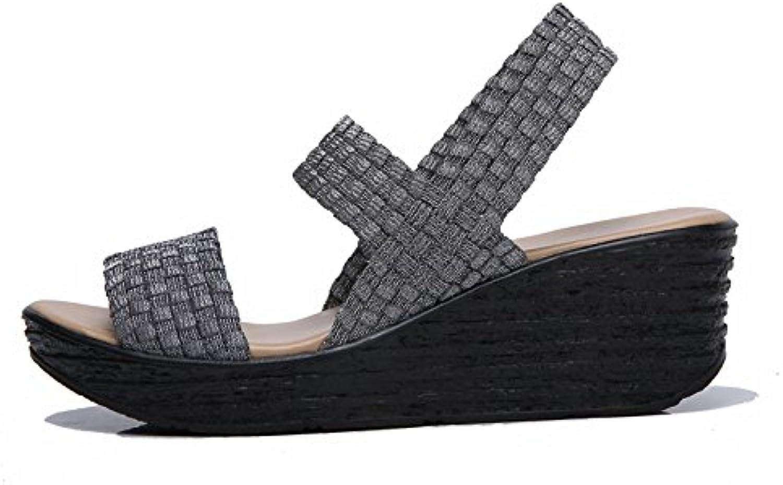 Zormey Stq 2017 Verano Mujer Sandalias Zapatos Mujer Sandalias De Plataforma De Cuña Plana Tejida Sandalias De...