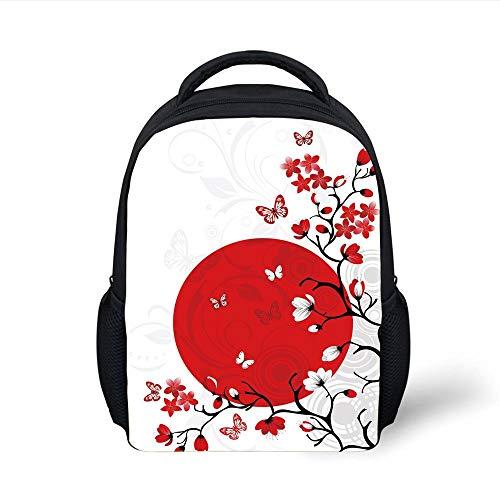 Kids School Backpack Japanese,Japanese Culture Inspired Artwork Cherry Blossom Sakura Tree Eastern,Vermilion Black White Plain Bookbag Travel Daypack (Cherry Blossom, Doll)