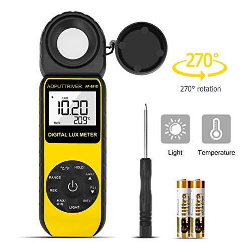 Belichtungsmesser,Digitales LUX-Messgerät Bis zu 400.000 Lux, digitales Hand-Lichtmessgerät, Umgebungstemperatur CE, ISO, ROHS,...