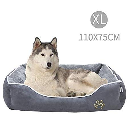MC Star Haustierbett Hundesofa, Weich Hundebett für Große Hunde Katzen Welpe Kätzchen, Haustierkorb mit Abnehmbarem Kissen, rutschfest Unterlage, Einfach zu Säubern, Grau