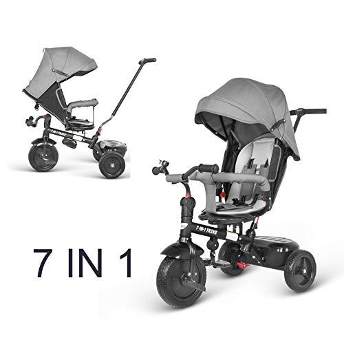 besrey 7 en 1 Tricycle Vélo Réversible Evolutif Multifonctionnel (Roue PU). Roues Silencieuses et Anti-Pincement. avec La Tige-Poussoir Directionnelle. 7 Mois-6 Ans.