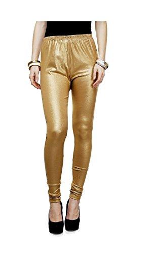 Women's Golden Shimmer Chudidar Leggings by Fashion Monster (Silk & Georgette, Medium)