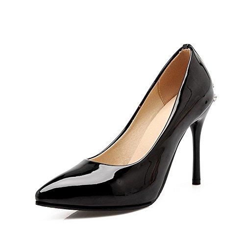 AllhqFashion Femme Pu Cuir Couleur Unie Tire Pointu Stylet Chaussures Légeres Noir