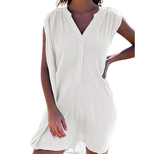 Sonojie Dress Damenmode V-Kragen ärmellose knopflose sexy Reine Farbe Kleid
