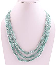 Neerupam Collection 298 Carat Natural Emerald Ractangle Shape Beads Three String Tassel Sarafa Necklace
