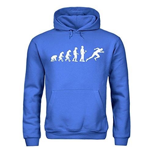 MDMA Kinder Kapuzensweatshirt Evolutionstheorie Leichtathletik Sprint mdma-kh00379-29 Textil royalblue / Motiv weiss Gr. 134/146