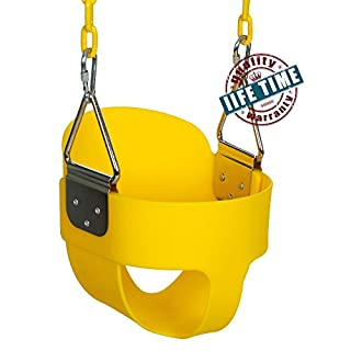 ANCHEER Toddler Swing Seat Infants to Teens,High Back Full Bucket Swing Set with 60 inch Plastic Coated Swing Chains & 2 Snap Hooks Fully Assembled (Yellow)