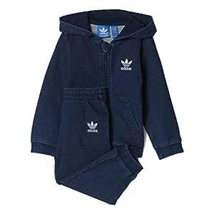 Adidas - Tuta da Allenamento per Bambini, Bambini, Baby Denim Hooded, Navy Collegiate, 104
