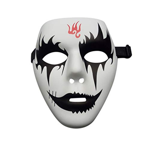 Face Mask PVC Street Dance Mask Eco-Friendly Hand-Painted Hip-Hop Mask Graffiti Mask Dance Mask Masquerade Accessories - White