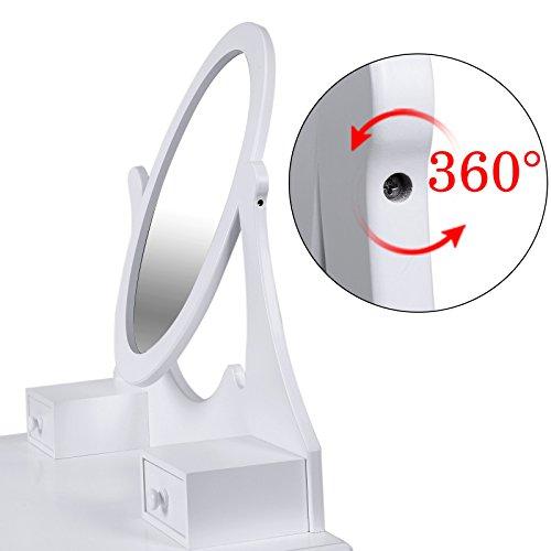 Songmics® Schminktisch Frisierkommode Frisiertisch Kosmetiktisch mit Spiegel inkl. Hocker, weiß, Holz, RDT002 - 5