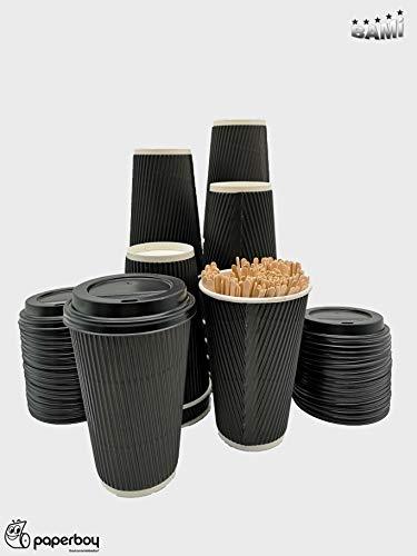 BAMI Kaffeebecher - 0,4l (16oz) Set Riffelbecher Einweg Tee Kaffee Cappuccino Heiße Getränke schwarz Pappe, geriffelt, doppelwandig - 100 Becher + 100 Deckel + 100 Rührstäbchen (Kaffee-becher 16 Einweg Oz)