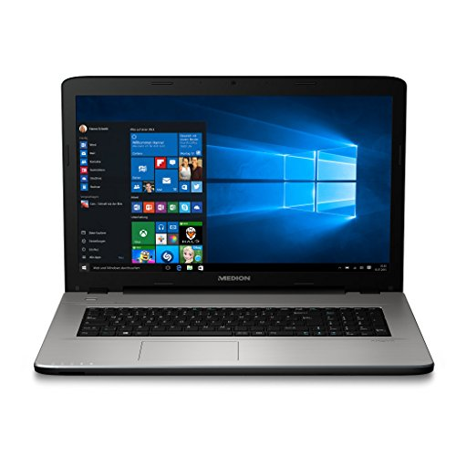 MEDION E7419 43,9 cm (17,3 Zoll Mattes HD Display) Notebook (Intel Pentium 4405U, 8GB RAM, 1TB HDD, Intel HD-Grafik, DVD, Win 10 Home) Silber