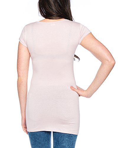 913 Damen Long-Shirt Basic mit Stretch Rosa