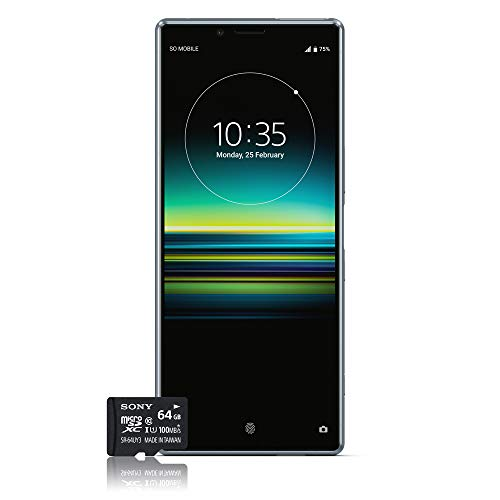 Sony Xperia 1 Smartphone Bundle (16,5 cm (6,5 Zoll) OLED Display, Dual-SIM, 128 GB Speicher, 6 GB RAM, Android 9.0) Grau + gratis 64 GB Speicherkarte [Exklusiv bei Amazon] - Deutsche Version (Kamera-bundle Professionelle)