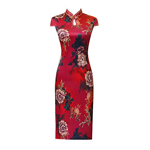 he Dress Satin Blume Stand Collar Cap Sleeve Button Cheongsam Long Dress Outfit Kostüm für Mädchen,Red,L ()