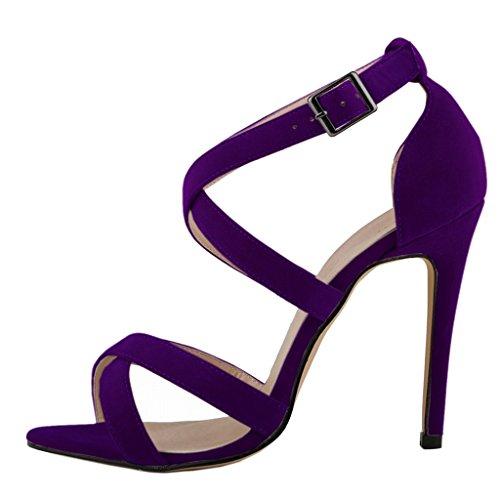 EKS , Sandales Plateforme femme Violet - Lila-Wildleder