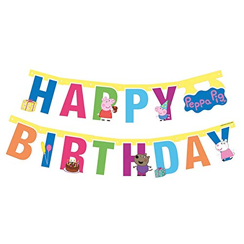 1,43m Partykette * Peppa Pig * als Deko für Kindergeburtstag und Mottoparty | mit Happy Birthday | Girlande Wutz (Peppa Pig-happy Birthday)