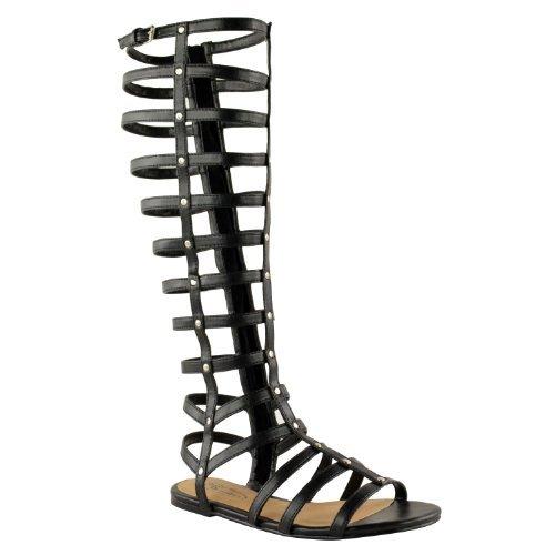 Gladiator Kostüm Womens - Womens Damen Ausgeschnitten Gladiator Sandalen FLACHES Knie Stiefel Riemchen GRÖßE - Schwarz Kunstleder, 36