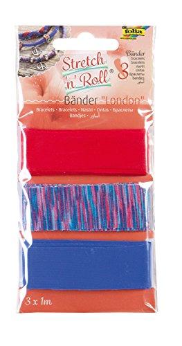 folia 93302 - Armbandbastelset Strech und Roll - Bänder London, mehrfarbig