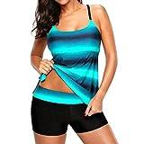 MRULIC Badeanzug 2 Stück Damen Tankini Swim Kleid Beachwear Gefärbt Charmant Bademode Plus Size Bikisuit(X-Grün,EU-40/CN-L)