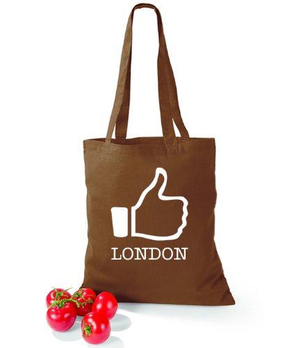 Artdiktat Baumwolltasche I like London Chestnut