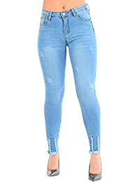 Be Jealous Womens Ladies Raw Edges Ripped Frayed Destroyed Stretchy Skinny Fit Denim Jeans UK Size 6-14