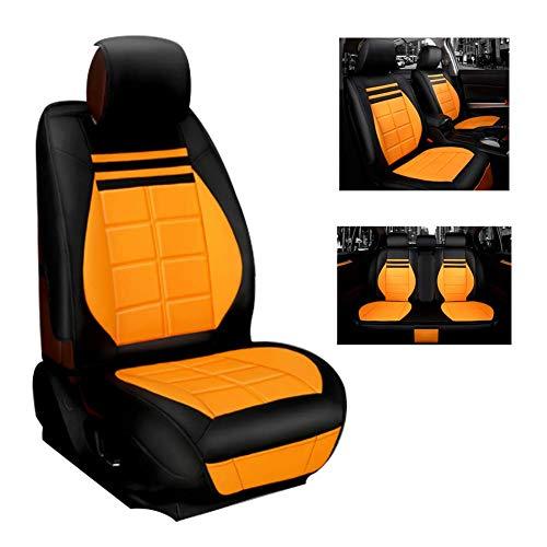 Neue 5-Sitzer Autositz Hochwertiges Leder Polyestergewebe Vorder- und Rücksitzkissen Four Seasons Universal Sitzbezug,Yellow (Beheizte Autositze Kit)