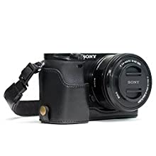 MegaGear MG963 Ever Ready Leather Half Case and Strap with Battery Access for Sony Alpha A5100/A5000 Camera - Black