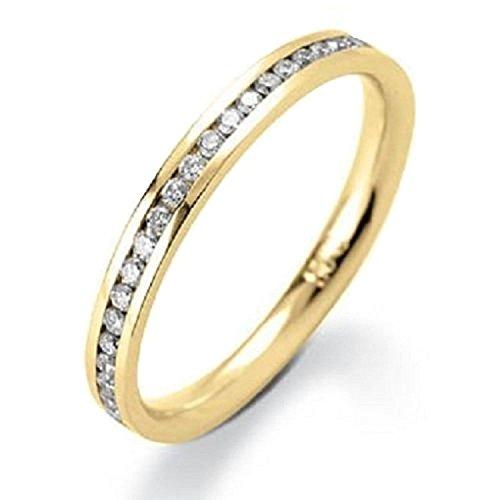 0.25ct diamante rotondo canale set anello Eternity in oro giallo, Oro giallo, 54 (17.2), cod. HDR0115.8
