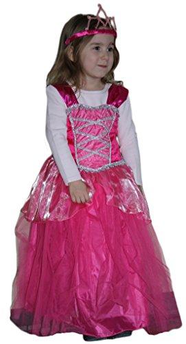 (Prinzessin Kostüm für Kinder Pink Glänzend mit Diadem - SAMT, Brokat und Tüllstil - 116/128)