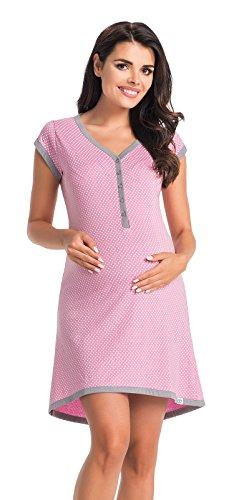 Di vadini, camicia da notte premaman franca, 100% di cotone, a maniche corte violett l