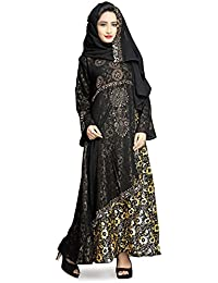 Justkartit Women's Black Color Printed Satin Lycra Burkha Abaya