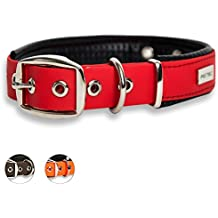 PetTec dog collar made of Trioflex™ with padding, Red, weatherproof, water resistant, robust