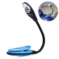 Idea Regalo - LEDMOMO Lampada da lettura a clip, lampada da lettura a LED multifunzionale come segnalibro Lampada da scrivania a letto per la lettura con copertina morbida e libri rigidi ecc. (Blu)