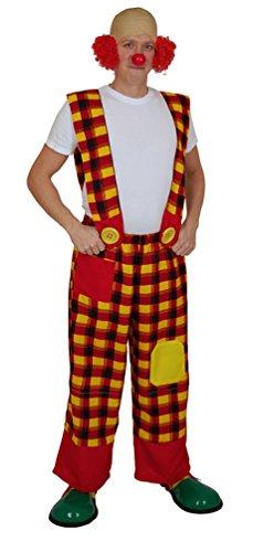 lown-Kostüm Herren bunt rot-gelb-schwarz Männer Clown-Latzhose Karneval Größe 52 (Rote Und Schwarze Clown Kostüm)