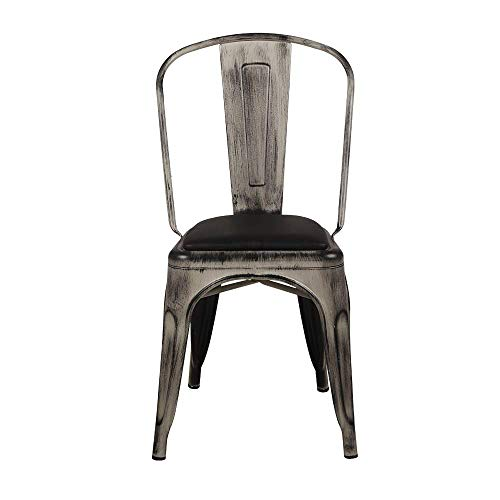 GIA MC45K-ANTIWH_PU_2 High Back, Large Seat Metal Chair 2-Pack Antique White/Black