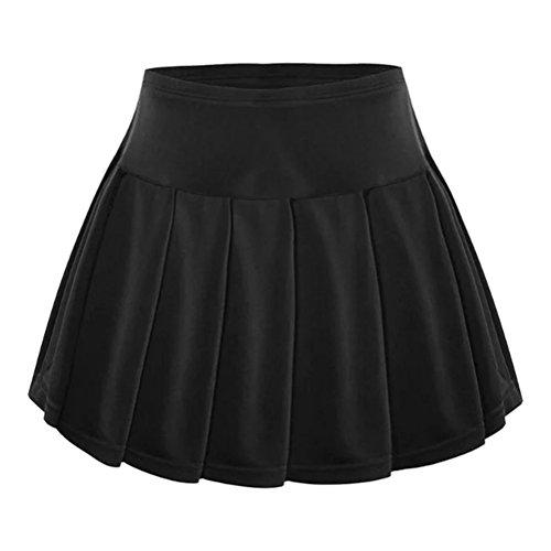 VORCOOL Frauen Sport sportlich Skort Tennis Röcke mit inneren Shorts für Golf Feld-Hockey Lauf Yoga Jogging Badminton Ping Pong - Größe L (schwarz)