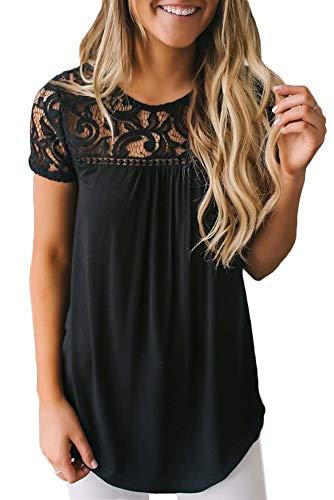 BesserBay Damen T-Shirt Spitze Baumwollshirt Damen Oberteil Elegant Kurzarm Spitzenshirt Kurzarmshirt mit Rundhals, Schwarz, 38 / M