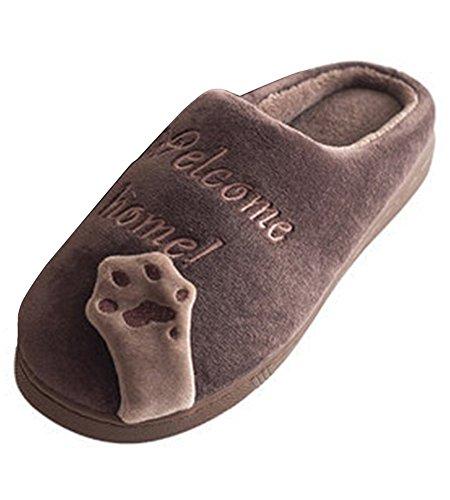 Minetom Inverno Unisex Morbido Caldo Peluche Casa Pantofole Cartone Zampa Dell'orso Antiscivolo Pattini Donna Uomo Scarpe Slippers D- Marrone