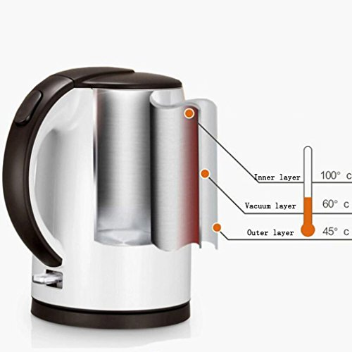 lerda pe White Electric Kettle Anti-Burn Burner Household 304 Stainless Steel Automatic Power Off The Kettle(22*19.8*22.5Cm),1.5L
