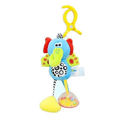 1 Stücke Baby Ziehen Schock Hängen Rassel Infant Cartoon Bett Kinderwagen Hängende Plüschtier Halloween Spielzeug(Niedlichen Elefanten)