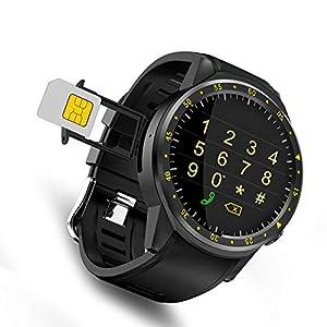 Relojes Inteligente GPS Deportivo con Doble Cámara 1.3 Pantalla Táctil Fitness Tracker Pulsómetro Monitor De Sueño Bluetooth Smartwatch Compatible Android Samsung para Hombre Mujer (Negro)